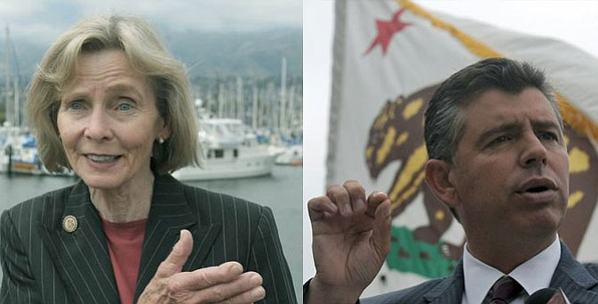 Lois Capps (left) and Abel Maldonado