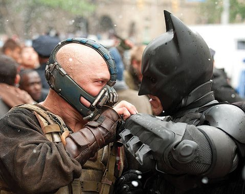 In <em>The Dark Knight Rises</em>, the last entry in Christopher Nolan's gritty Batman trilogy, the Caped Crusader (Christian Bale) returns after an eight-year hiatus to face off against the brutal masked terrorist Bane (Tom Hardy).