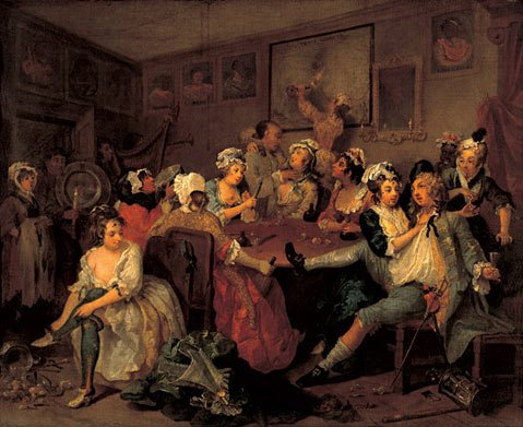 "The third in a series of eight paintings by 18th century artist William Hogarth collectively called ""The Rake's Progress"", which served as inspiration for Igor Stravinsky's opera by the same name."
