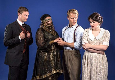 FROM LEFT: Baritone Cameron McPhail (Nick Shadow), mezzo-soprano Kate Allen (Baba the Turk), tenor Adam Fisher (Tom Rakewell), and soprano Alison King (Anne Trulove).
