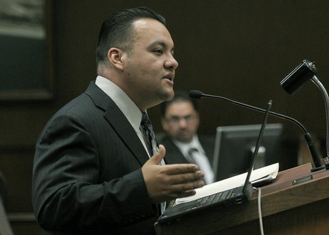 Saul Serrano, interim director of the South Coast Gang Task Force, speaks before City Council (July 31, 2012)