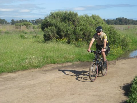 Deputy Greg Sorenson includes the Ellwood Bluffs on his regular bicycle patrols of Goleta.