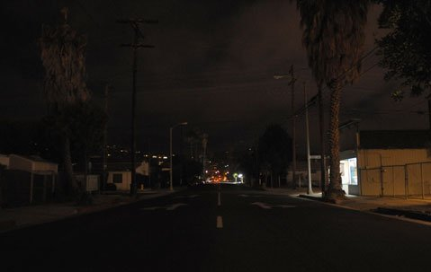 A look down a darkened East Haley Street