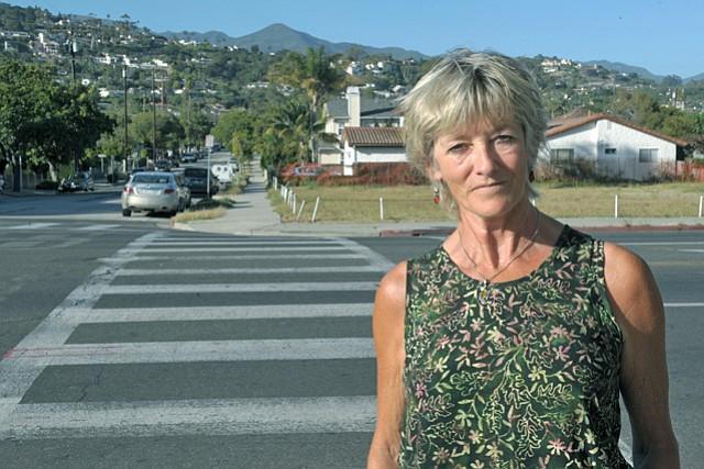 Sonia Harris at Milpas and Ortega streets crosswalk.