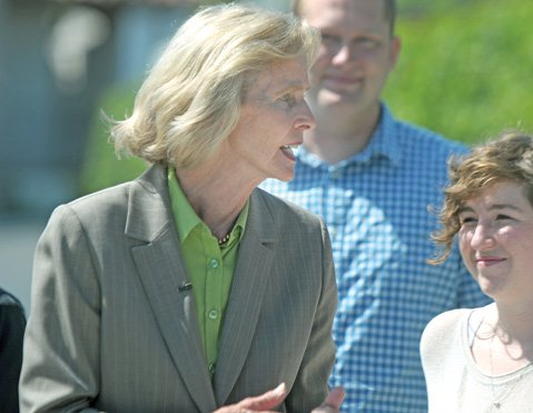 "<b>FACE-OFF: </b> Rep. Lois Capps spoke in front of S.B.'s Planned Parenthood offices this Tuesday, taking to task Missouri Rep. Todd Akin for his comments about ""legitimate rape"" and criticizing her Republican opponent Abel Maldonado and his party for trying to eliminate the organization's funding."