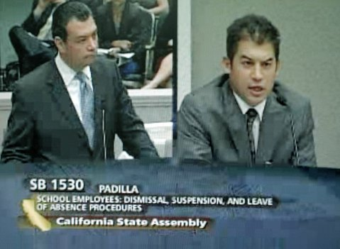 """<b>A DECISION DEFERRED:</b>  """"It is difficult to understand why anyone would oppose a measure to protect children,"""" Senator Alex Padilla (left) said after four Democrats on the Education Committee, including Das Williams (right), abstained on a bill that needed only one more yes vote to reach the Senate floor. The purpose of the bill was to expedite the firing of teachers involved in misconduct of a sexual, violent, or drug-related manner. Williams, who represents significant portions of Santa Barbara and Ventura counties, said he has reached out to Padilla in order to improve the bill."""