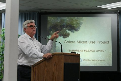 Peter Koetting, a partner with Westar Associates, addresses the Goleta Planning Commission