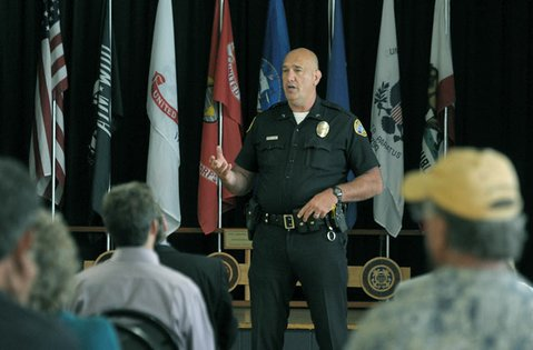 SBPD officer Kent Wojciechoski at a community crime prevention meeting the Santa Barbara Veterans Memorial Building  (June 20, 2012)