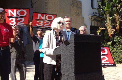 No on Prop 32 rally.
