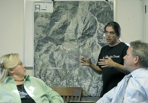 Woody Jackson (center) addressed the Montecito Water District Board of Directors earlier this year about the fate of Hot Springs Canyon. Jackson, who has been an outspoken critic of the Land Trust for Santa Barbara Countys plan to permanently protect the property, hopes to see the namesake mineral hot springs once found on the property brought back for public use. 