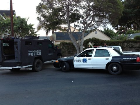 The SBPD's Bearcat armored vehicle outside a residence in the 1200 block of Punta Gorda St.
