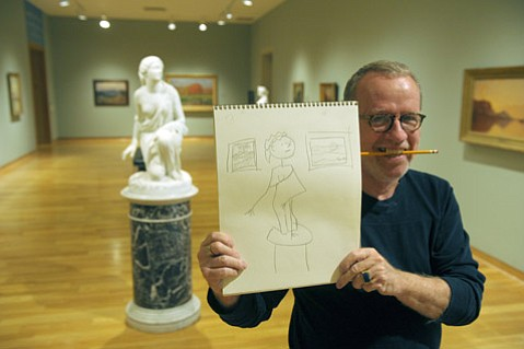 Author D.J. Palladino shows off his other skills at the Santa Barbara Museum of Art.