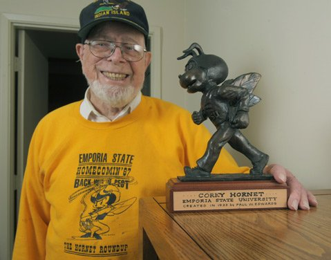"Val Verde resident Paul Edwards with a bronze casting of ""Corky the Hornet"" the mascot he created for his alma marter Emporia State in 1933 (Oct. 5, 2012)"
