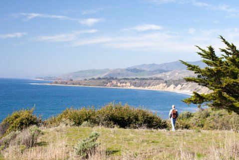 Hiking along the Gaviota Coast bluff top on CCT route proposed by the Trails Council.  Current development proposal would place the route north of Highway 101 and more than a mile from the bluff top.