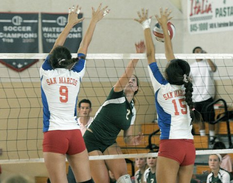 SBHS's Frankie Lewis (#2) hitting against San Marcos blockers Berlo and Katie Kim (#15).