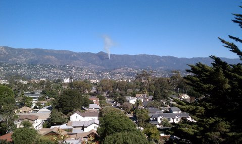 Cold Springs Trail fire seen from Loma Alta Drive