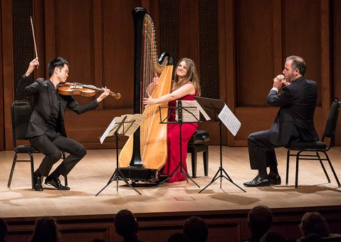 Harpist Bridget Kibbey joined Camerata Pacifica for this concert of music by French composers on Friday, November 9.