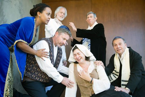 Top- William Waxman as the inquisitor Valkenburgh, Jerry Oshinsky as Ben Israel Bottom- Aden Hailu as Rebekah, Brian Kolb as Spinoza, and Jesi Vasquez as Clara.