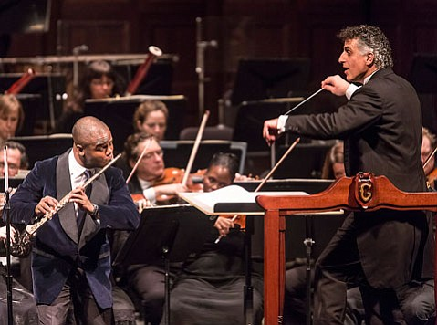 Guest artist Demarre McGill (left) joined Symphony for works by Debussy and Ibert Sunday, November 11