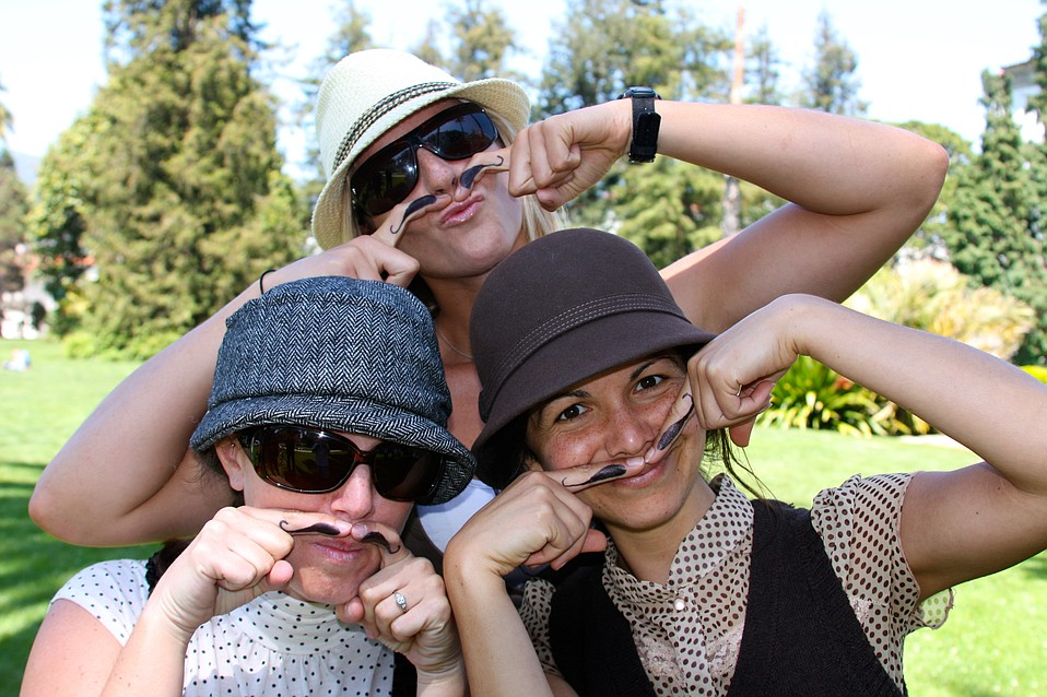 Rachelle Pegg, Piper Presley, and Lori La Riva goofing around at the Tweed Ride