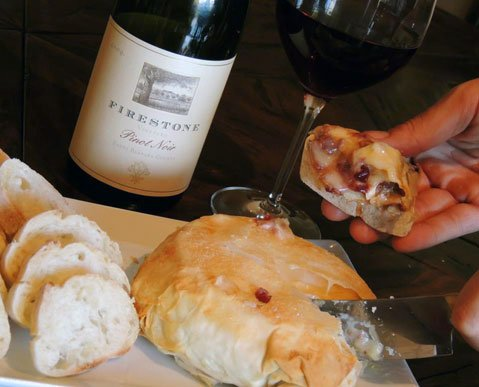 Pure Joy's Caramelized Onion, Pinot Noir, and Cranberry Filled Brie en Croute