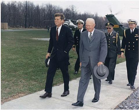 JFK and Ike at Camp David (Apr. 22, 1961).