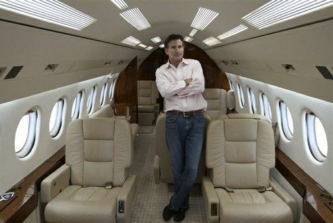 Founder and CEO Will Ashcroft aboard a Dassault Falcon 900, one of the private planes in his Jumpjet fleet.