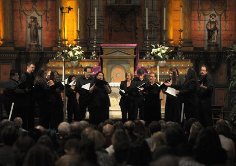 Adelfos Ensemble perform at the Santa Barbara MIssion.