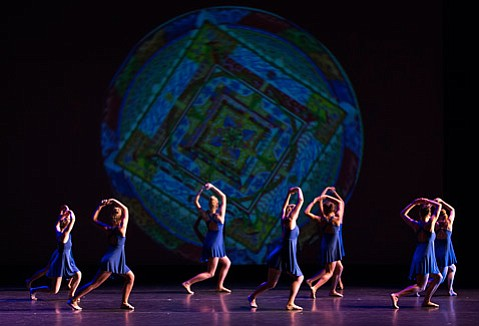 """Projections also featured in """"Sight of Hand,"""" a work for nine dancers created by department faculty members Valerie Huston and Jerry Pearson."""