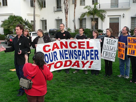 Rallying for the right to organize the <em>Santa Barbara News-Press</em> newsroom: Tom Schultz, Dawn Hobbs, Teamsters organizer George Perez, Barney McManigal, Rob Kuznia, Anna Davison, Melinda Burns, John Zant, and Melissa Evans.