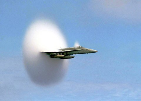 A U.S. military craft breaks the sound barrier and causes a sonic boom