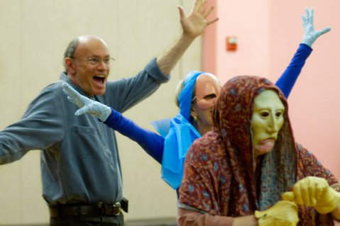 Peter Frisch (left) offers a Tuesday-night workshop in Santa Barbara called <i>Character Masks</i>.