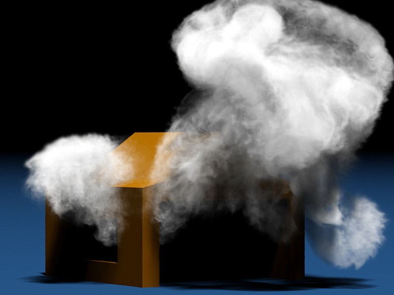 "High-resolution smoke simulation generated using Theodore Kim's ""wavelet turbulence"" algorithm."