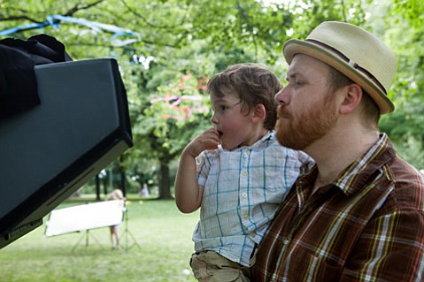 <i>Sex After Kids</i> Director Jeremy LaLonde filming with his son.