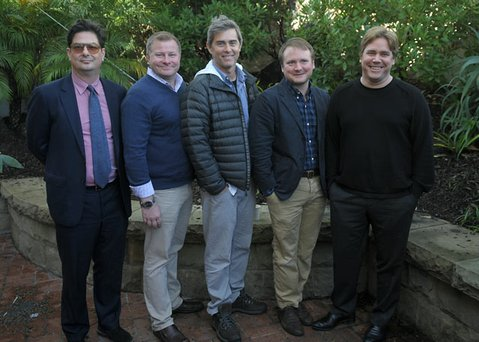 Writers Roman Coppola, David Magee, John Gatins, Rian Johnson and Stephen Chbosky attend the 28th Santa Barbara International Film Festival Writers Panel at the Lobero theatre  (Jan. 26 2013)