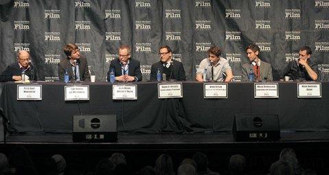 SBIFF 2013 Directors Panel (L to R) moderator Peter Bart, directors Tom Hooper, Rich Moore and David O. Russell Behn Zeitlin, Malik Bendjelloul, and Mark Andrews.