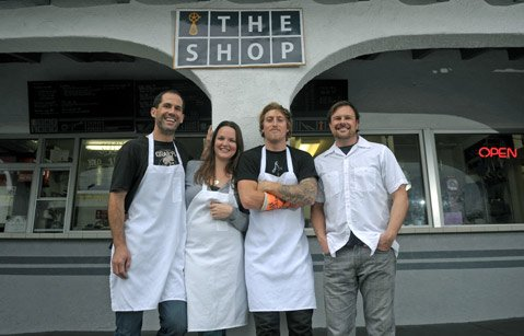 The Shop's four co-owners (L to R) husband and wife Chris and Amy Vigilante, Scott Manser, and Dudley Michael.