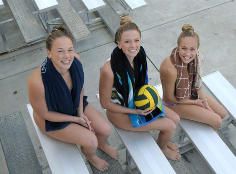 L to R Madeline Trabucco, her twin Sophie Trabucco and Kelsey O'Brien