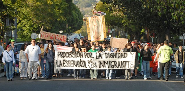 <b>CONTINUING STRUGGLE:</b>  Many have fought for comprehensive immigration reform for years. Now, it appears major change is close to reality. Seen here, a May Day rally took over the streets of Santa Barbara in 2007.