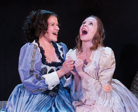 Rebekah Tripp (left) and Katharine Leonard in <i>The Liar</i>, David Ives's contemporary adaptation Corneille.