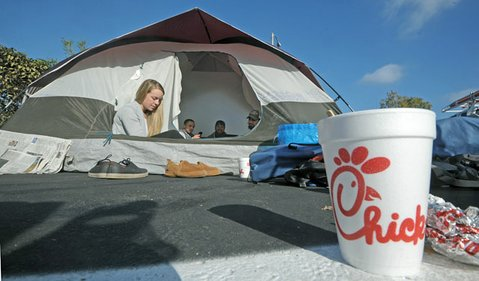 Mackenzie Matthews and friends at the Chick-fil-A grand opening campout