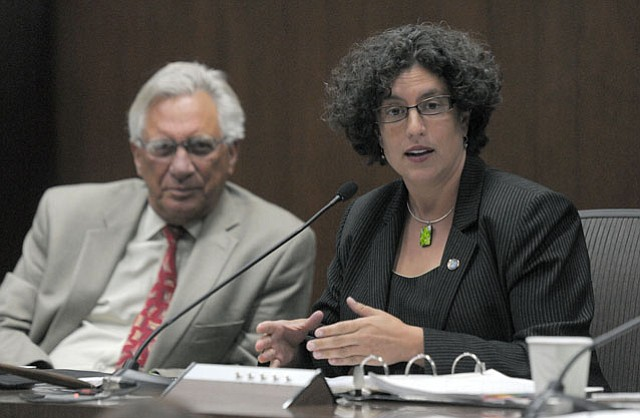 """""""I would hesitate to call it an 'ethics cheat sheet,'"""" said Mayor Helene Schneider (flanked by Councilmember Frank Hotchkiss) in response to a colleague's suggestion to compress the new 27-page ethics guidelines."""