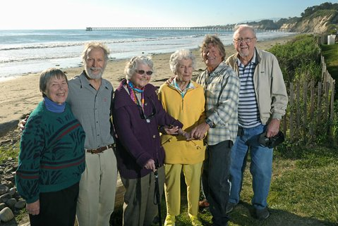 left to right:  Boardmembers Margaret Connell, Marc Chytilo, Pat Shewczyk, Harriet Phillips, John Storrer, and Bill Elliot gather at what was ground zero for the Goleta Valley Land Trust 30 years ago — Haskell's Beach by the Bacara.
