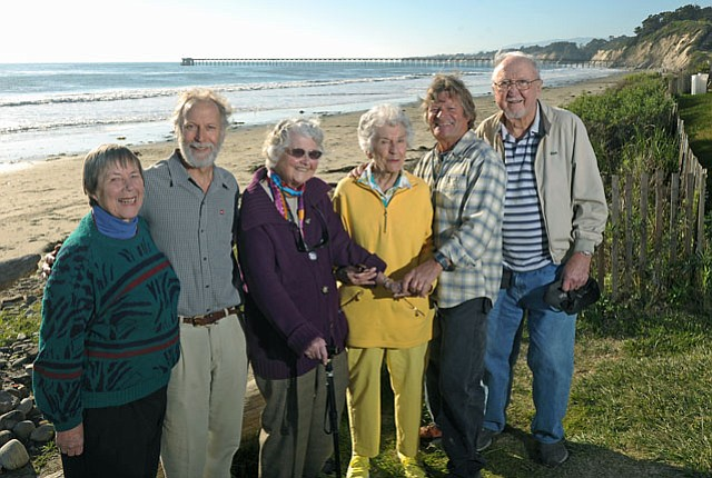 left to right:  Boardmembers Margaret Connell, Marc Chytilo, Pat Shewczyk, Harriet Phillips, John Storrer, and Bill Elliot gather at what was ground zero for the Goleta Valley Land Trust 30 years ago—Haskell's Beach by the Bacara.