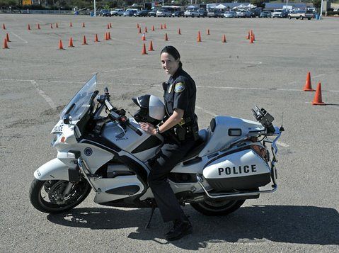 SBPD Officer Tiffany Keller, the department's first female motorcycle cop.