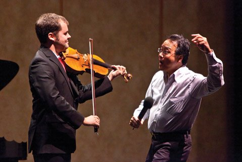 Yo-Yo Ma coaches UCSB violist Jacob Adams in a master class.