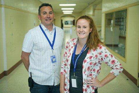 SBJHS Restorative Approaches teachers Aaron Harkey and Cailean Kilroy.