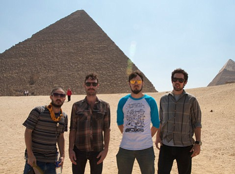 <b>ROCK LIKE AN EGYPTIAN:</b>  Black Lips pose in front of a pyramid during the band's 2012 tour of the Middle East.