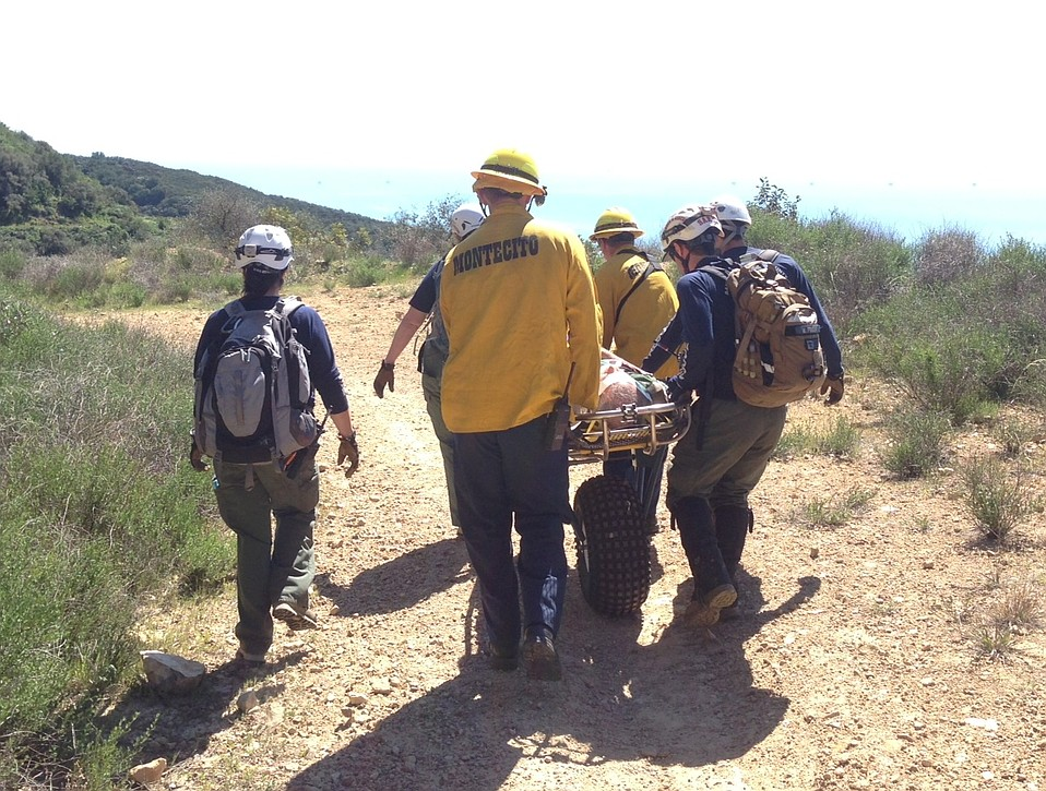 The injured biker was taken to the head of Romero Canyon Trail where an ambulance was waiting
