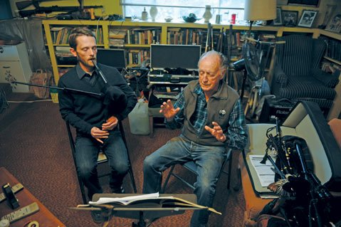 <b>THE PIED PIPER: </b> Bob Guthrie (right), who is approaching his 90th birthday, has taught scores of folks to play the bagpipes, including student Rob McIntyre (bottom left).